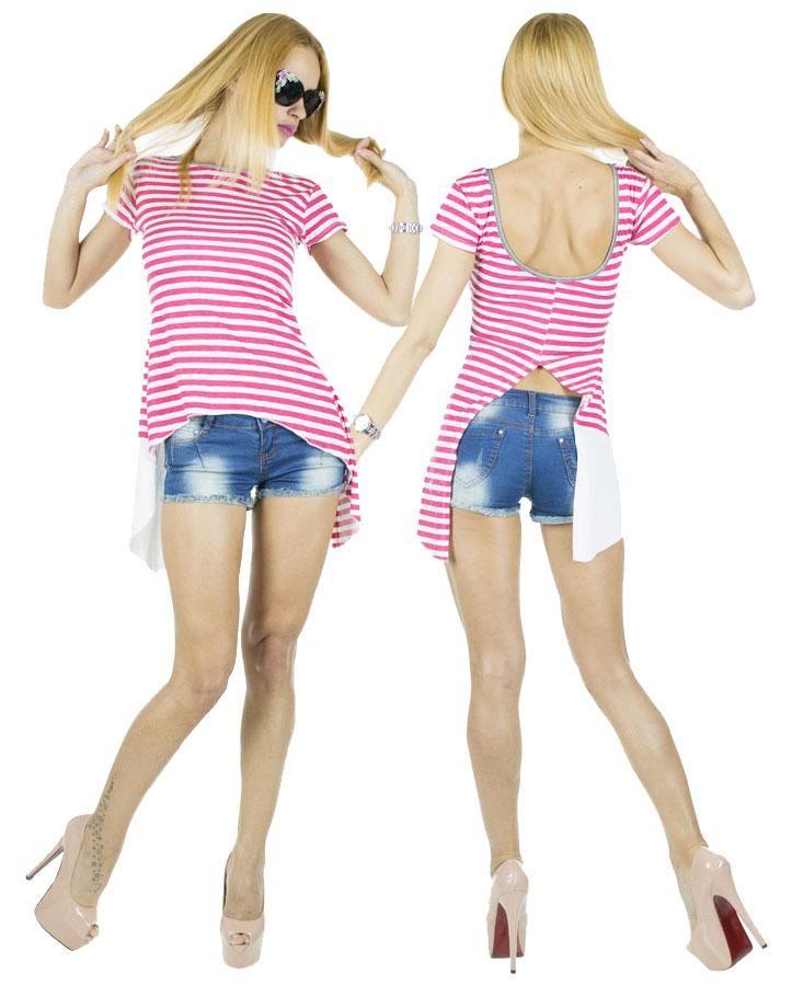 Tricou Dama Bubu  -Tricou dama casual  -Model cu taietura asimetrica, ce cade lejer pe corp si poate fi purtat cu usurinta.     Latime talie:35cm  Lungime:55cm  Lungime colt:85cm Compozitie:100%Bumbac