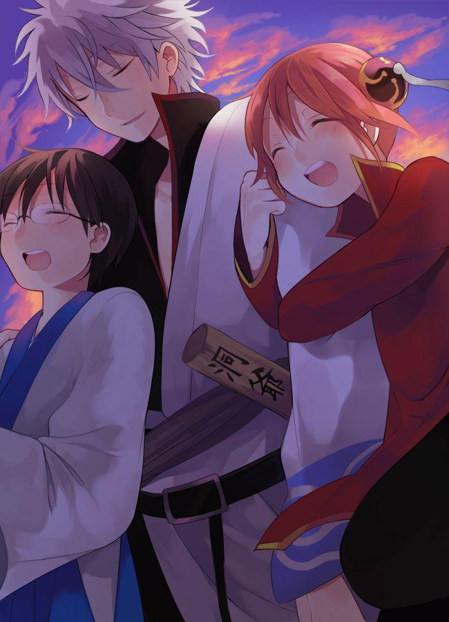 Tags: Anime, Gin Tama, Sakata Gintoki, Shimura Shinpachi, Hair Buns, Hiyo Kiki, Kagura (Gin Tama)