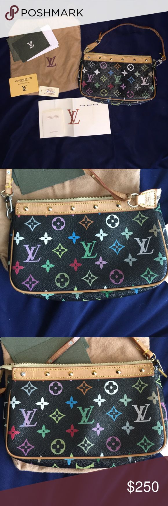 Louis Vuitton murakami pochette OBO Gently used Louis Vuitton murakami purse. Some discoloration and wear see pictures. The strap on top seems to be coming apart but does not affect the bag. Inside is perfect! Comes with original tags and dust bag. Make me an offer! Louis Vuitton Bags