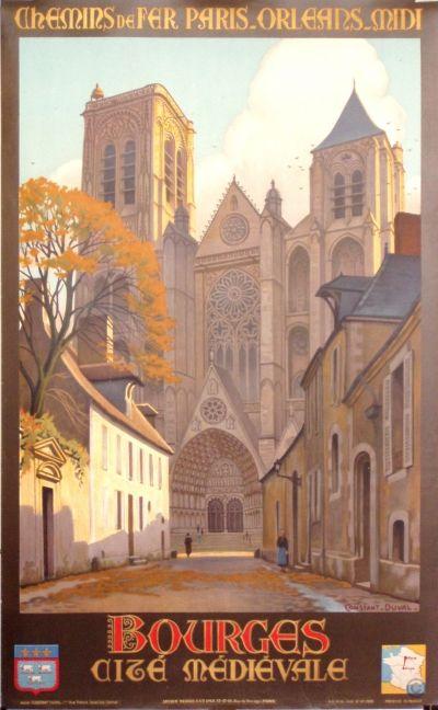 Vintage Railway Travel Poster - Bourges - Cité Médivale - France - by Constant Duval - c1935.