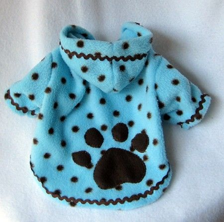 Dog Fleece Hoodies Blue with Brown Polka Dots by LittleDogFashion, $40.00