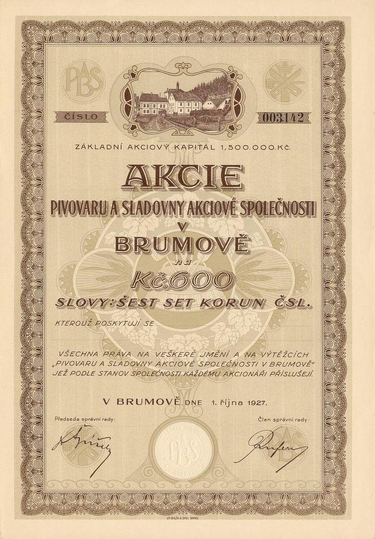 Pivovar s sladovna akc. spol. v Brumově (Brauerei und Mälzerei AG in Brumov). Akcie na 600 Kč. Brumov, 1927.