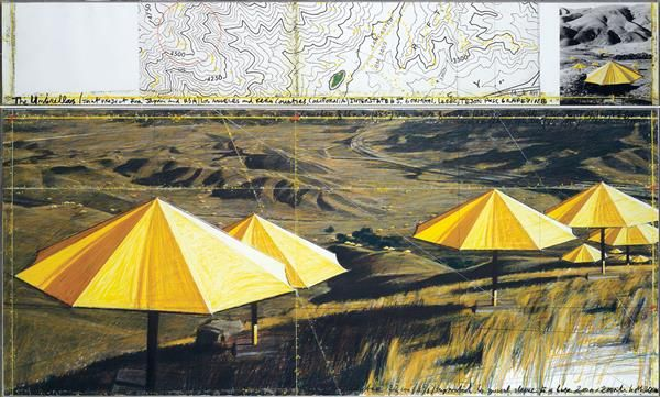 A PROMINENT 20TH CENTURY EUROPEAN COLLECTION December, 8th #CHRISTO (né en 1935) The Umbrellas (Joint Project for Japan and USA), 1989 Crayon, pastel, fusain, crayon gras, acrylique, photographie de Wolfgang Volz et fond d'impression sur papier sous plexiglas (en deux parties) Titré, signé et daté en bas de la partie supérieure 39,5 x 245 cm et 108 x 245 cm Estimation : € 250,000-350,000