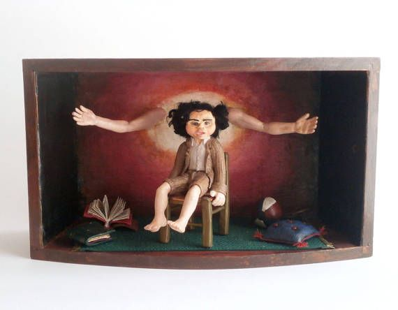Not bijoux but Lijoux: Shadow box polymer clay boy doll and open arms diorama