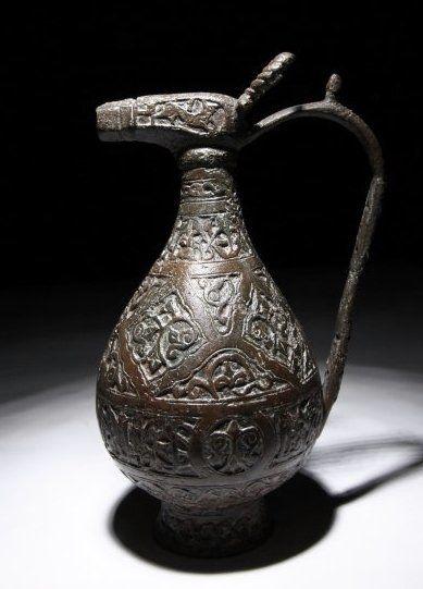 Near Eastern Islamic Seljuk Bronze Ewer : 1037-1194