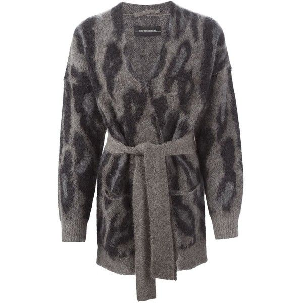 By Malene Birger Leopard Knit Cardigan featuring polyvore, fashion, clothing, tops, cardigans, grey, leopard print cardigan, by malene birger, grey knit cardigan, gray top and gray leopard cardigan