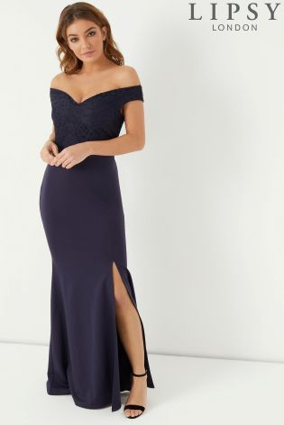 15b4fcba502 Buy Lipsy Lace Top Bardot Maxi Dress from the Next UK online shop ...
