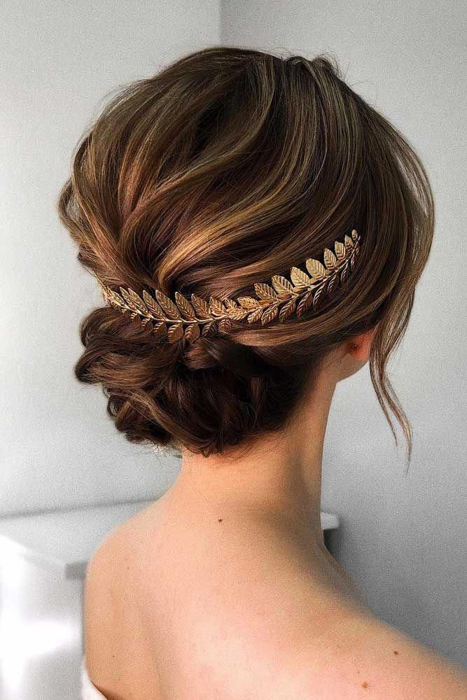 Updo Hairstyle With Greece Accessory #updohairstyle ★ Here is a list with photos of 33 trendy prom hairstyles for short hair. In case you are lookin...