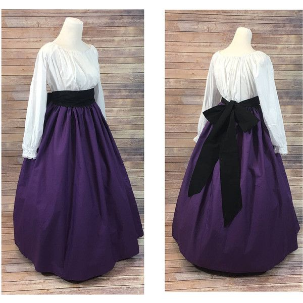 Complete Outfit Skirt, Blouse and Sash Renaissance Civil War Victorian... ❤ liked on Polyvore featuring costumes, sash belt, purple costume, civil war halloween costume, southern belle halloween costumes and victorian halloween costumes