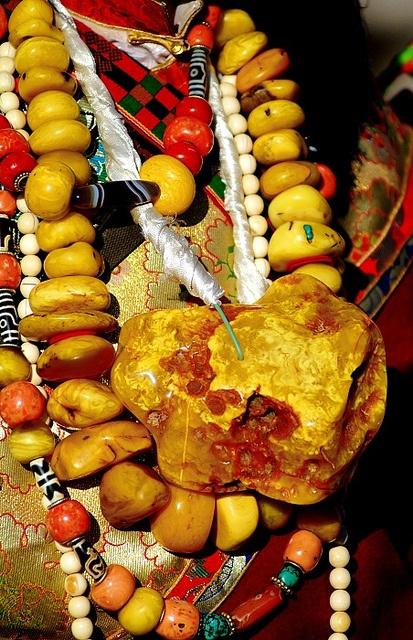 Amber, Coral and Dzi bead Tibetan jewelry