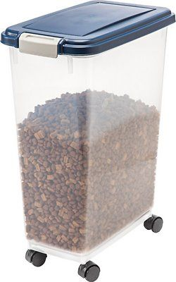 IRIS Airtight Pet Food Storage Container, Clear/Navy, 47-qt - Chewy.com
