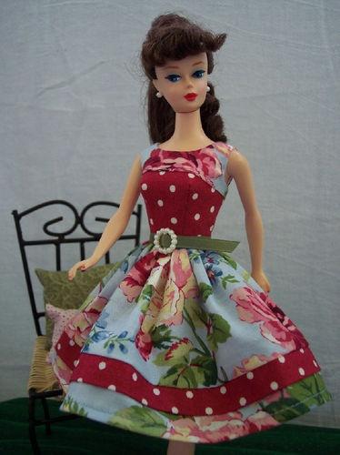 Handmade Vintage Barbie Doll Clothes by Brenda Floral Chic Dress | eBay