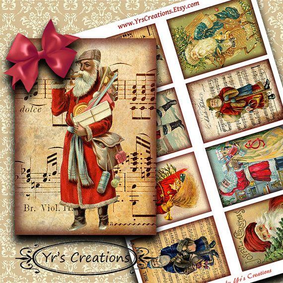 VINTAGE SANTA CLAUS Cards - Vintage Christmas Cards - Santa Claus Clip Art - Atc Cards - Digital Christmas Gift Tags - Digital Collage Sheet