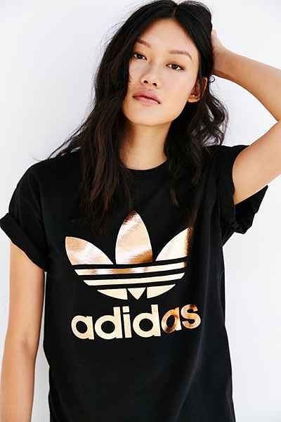 adidas Originals Rose Gold Dougle Logo Tee - Urban Outfitters- M