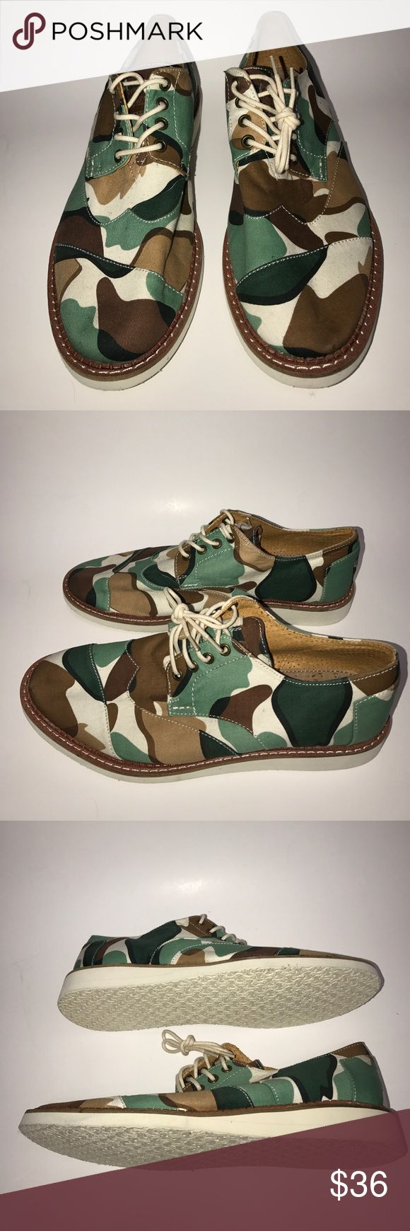 "TOMS Camo men shoe size 9.5 New Toms men camo shoe size 9.5. TOMS "" with every pair you purchased TOMS will give a pair of new shoe to a child in need."" Toms Shoes Chukka Boots"