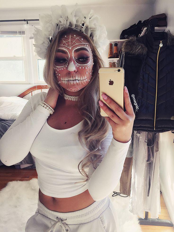 White sugar skull makeup                                                                                                                                                                                 More
