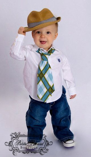 Little Guy Necktie Tie - Plaid - Teal Turquoise Navy White Lime Green - (12m - 2T) - Baby Boy Toddler - Custom Order