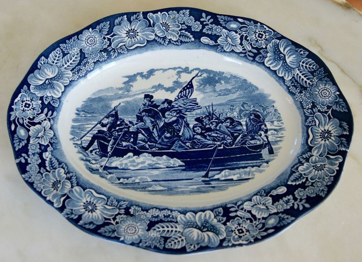 Liberty Blue 14  platter Washington Crossing the Delaware : liberty blue dinnerware - pezcame.com