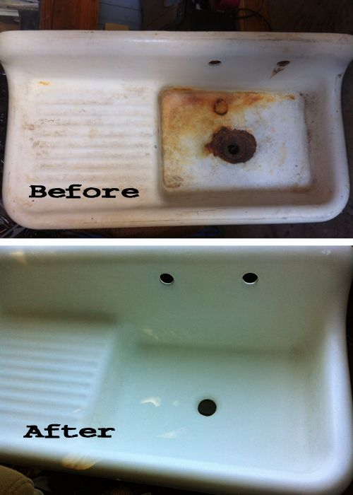 a fifty dollar craigslist farmhouse style cast iron enamel sink refinished for only 225 - Kitchen Sink Refinishing