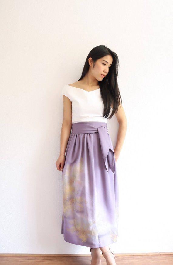 Vintage Japanese Kimono Skirt | Long Skirt | Purple Skirt | Japanese Dress | Bridesmaid Dress |