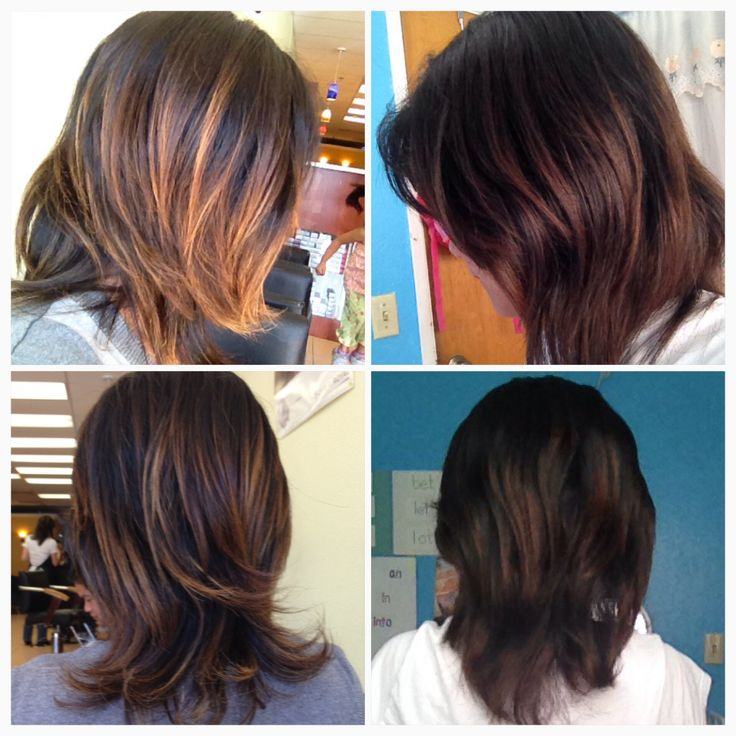 From Dark Brown With Blonde Highlight To Mahogany Violet