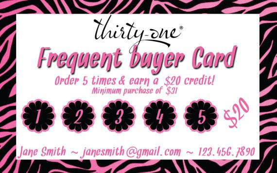 Thirty One Consultant  Frequent Buyer Card by MalliDesigns on Etsy