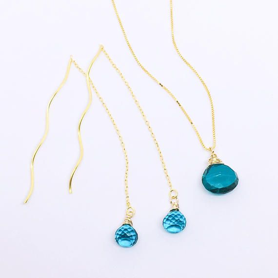 Peacock Blue Quartz Ear Threads Peacock Blue Quartz Necklace