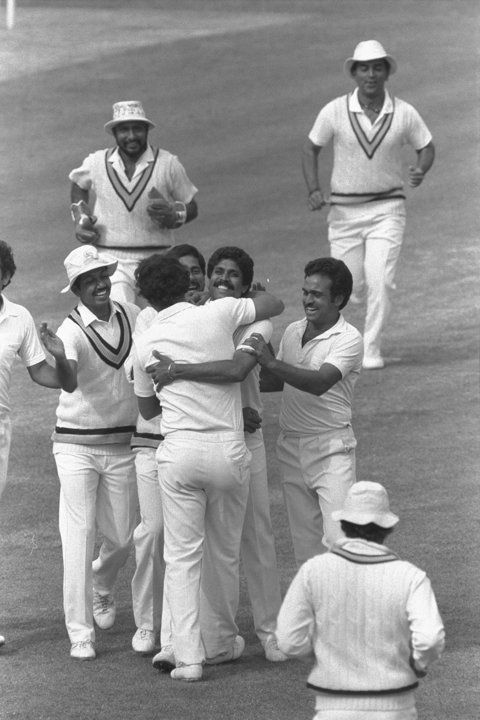 India celebrate as they win the 1983 Cricket World Cup by beating West Indies in the final at Lord's.