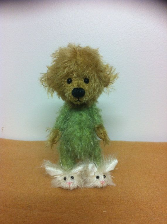 LAYLA.... 5 Mohair Bear in her Onsie and Bunny by LoveBuzzBears, $88.00