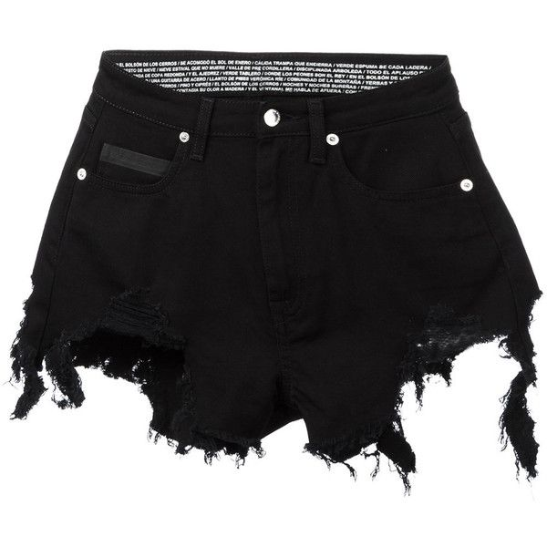 Marcelo Burlon County Of Milan 'Alin' distressed shorts ($388) ❤ liked on Polyvore featuring shorts, black, ripped short shorts, ripped shorts, short shorts, zipper shorts and destroyed shorts