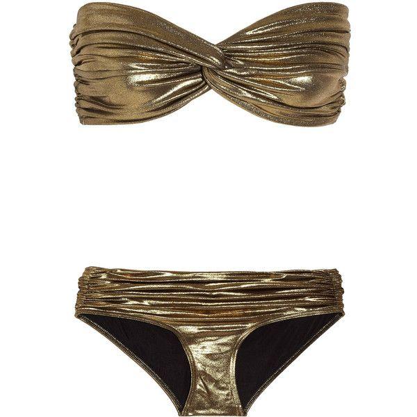 Lanvin Metallic bandeau bikini ($233) ❤ liked on Polyvore featuring swimwear, bikinis, swimsuits, bikini, bathing suits, swim, bikini swimsuit, bikini bathing suits, swim wear and swimsuits two piece