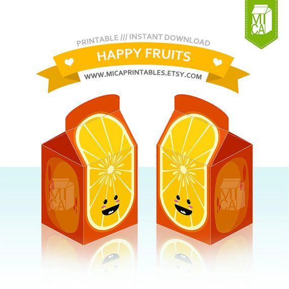 Happy Fruits Printable Party Favor Treat Gift by MicaPrintables #orange #fruits #cute