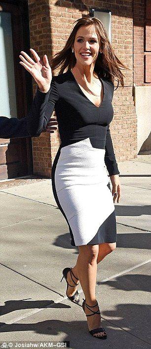 Actress Jennifer Garner wears a monochrome Roland Mouret pencil dress...