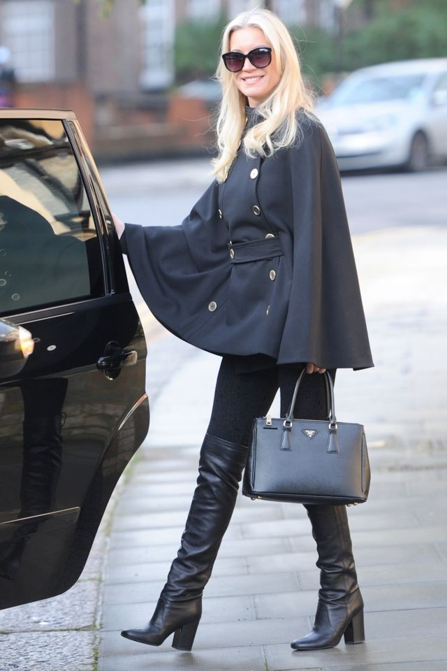 Denise Van Outen's London street style: Cape coat (by JAEGER) and overknee boots <3 <3