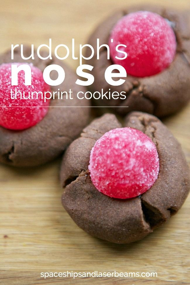 Cute Christmas Party Food Ideas: Rudolph's Nose Thumbprint Cookies