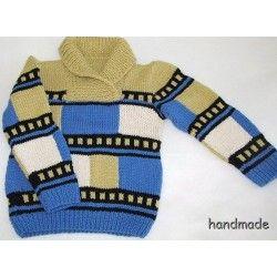 Svetr dětský ručně pletený, modro-béžový, vel. 3 - 4 roky