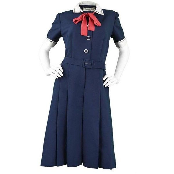 Preowned 1960s Christian Dior Numbered Demi Couture Nautical Pussybow... ($766) ❤ liked on Polyvore featuring dresses, black, formal wear, button front dress, nautical formal dress, checkered dress, vintage couture dresses and couture dresses