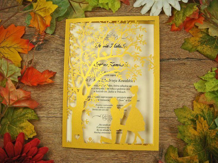 zaproszenia ślubne z kolekcji Spotkanie wzór 9 |   Zaproszenia ślubne laserowe, kartki 3D