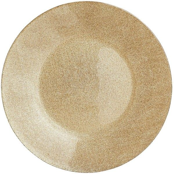 Pier 1 Imports Glitter Charger - Gold ($9.68) ❤ liked on Polyvore featuring home, kitchen & dining, dinnerware, kitchen, colored dinnerware, gold chargers, gold dinnerware, pier 1 imports and holiday dinnerware