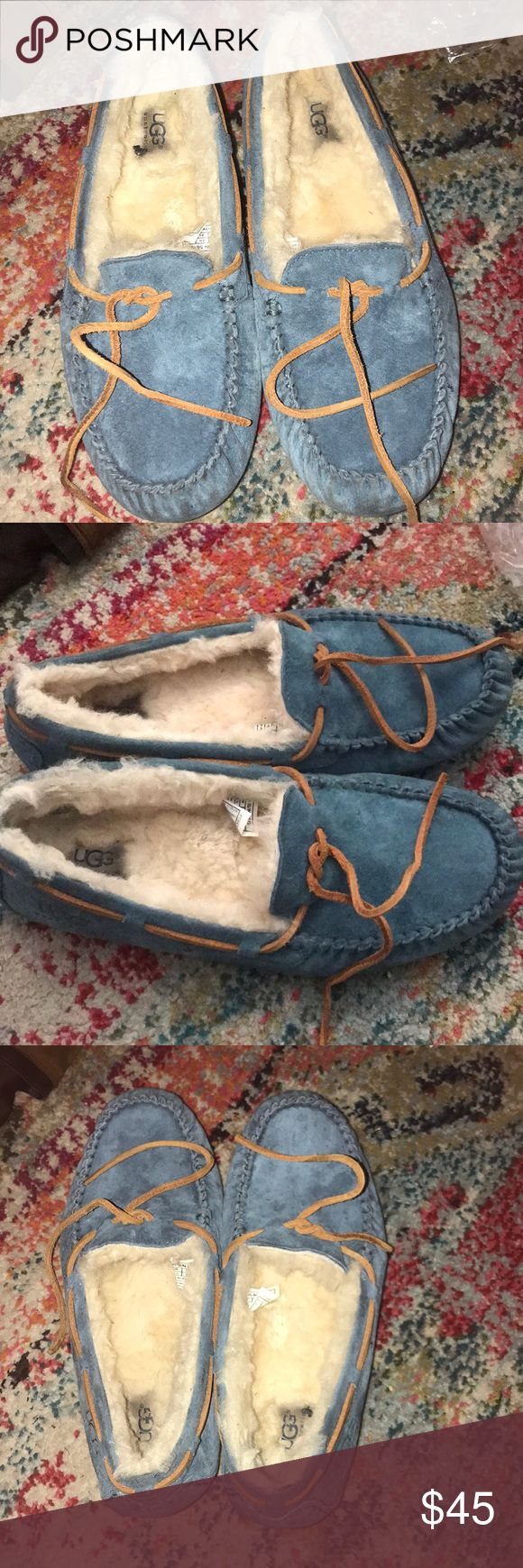 UGG sheepskin slippers in a steal color size 8.5 Nice UGG sheepskin slippers size 8.5 and the color is teal or turquoise. Great slippers especially for this cold winter and they see do Comfy. UGG Accessories