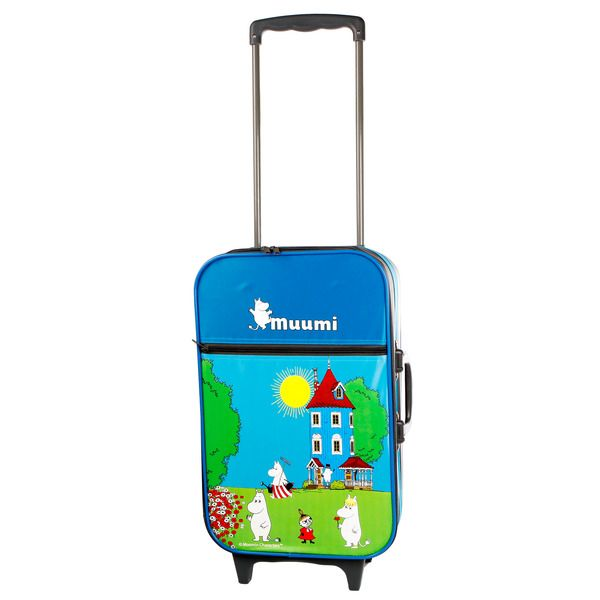This colourful Moomin cabin trolley works nicely as hand luggage in the airplane. Size 15x54x30cm.