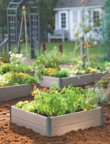 composite wood raised bed (aka: trex decking boards)