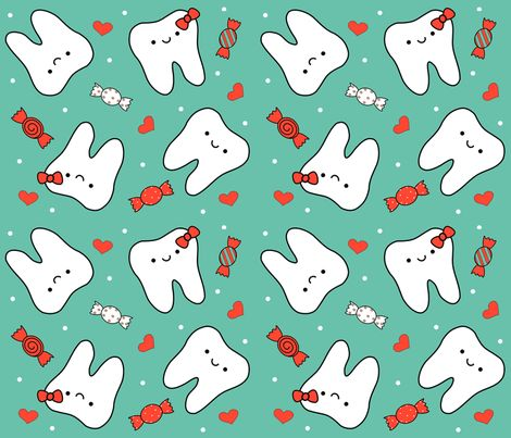 happyteethandcandy fabric by clayvision on Spoonflower - custom fabric