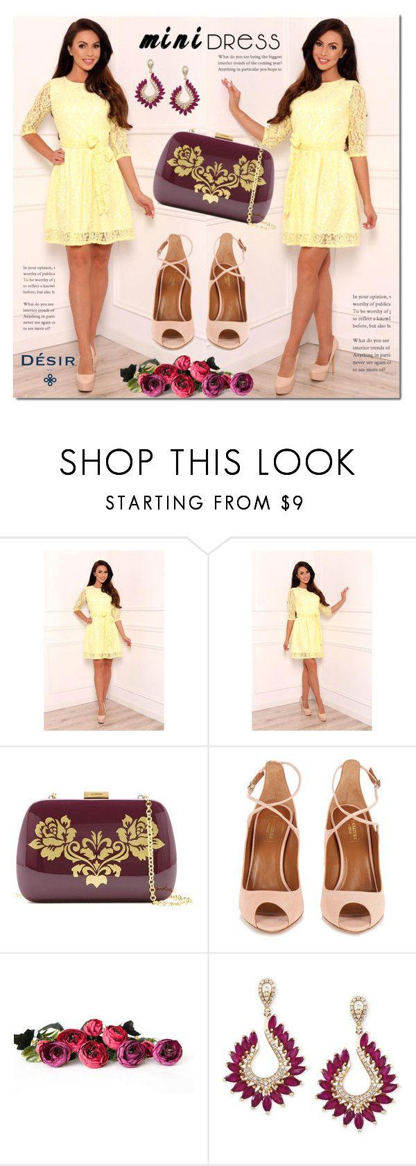 Yellow mini dress by Desir Vale by mada-malureanu on Polyvore featuring Aquazzura, Serpui, Effy Jewelry, dress, summerstyle, minidress, dreamydress and DesirVale