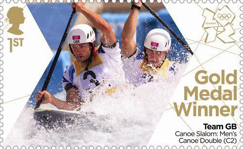 Gold Medal Winner stamp #3 - Men's Canoe Double (C2), Etienne Stott and Tim Baillie.