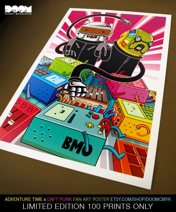Limited Edition Adventure Time x Daft Punk fan art poster 100 prints