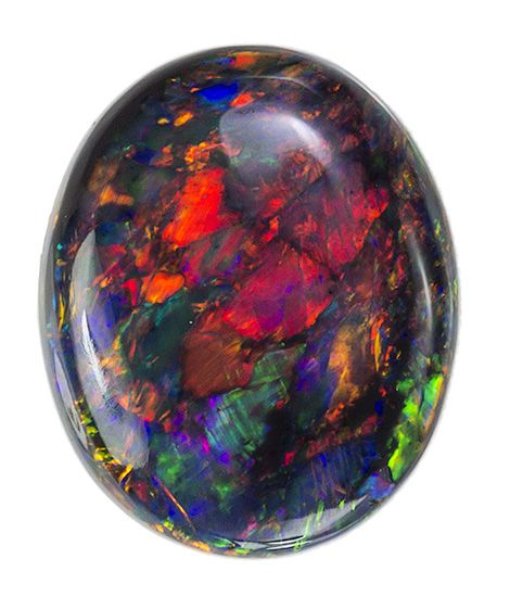 Black Opal oval from Lightning Ridge Australia.
