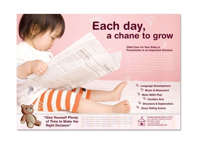 8 best Flyer images on Pinterest Ad layout, Brochures and Child care - daycare flyer template