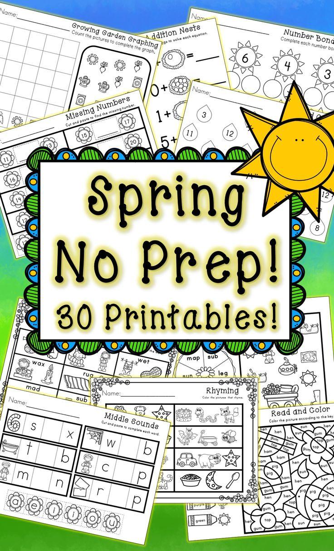 Kindergarten Spring Printables - NO PREP Math and Literacy - Morning Work, Homework, Sub Plans - Extra Practice
