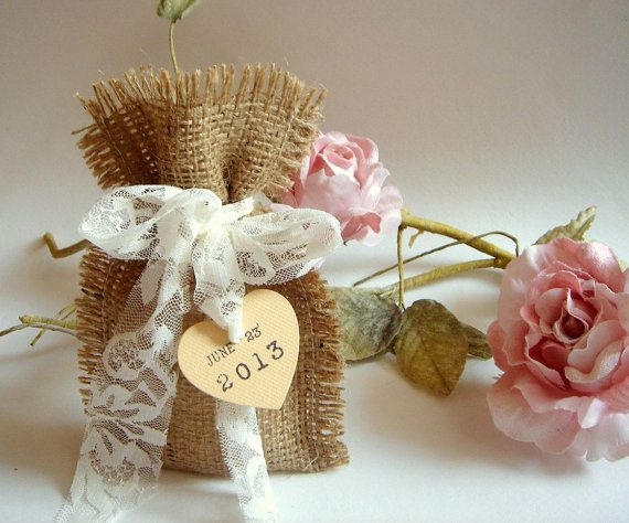 50 Burlap Bags,Rustic favor bags with personalised heart tags,Rustic eco friendly bags, $90.00